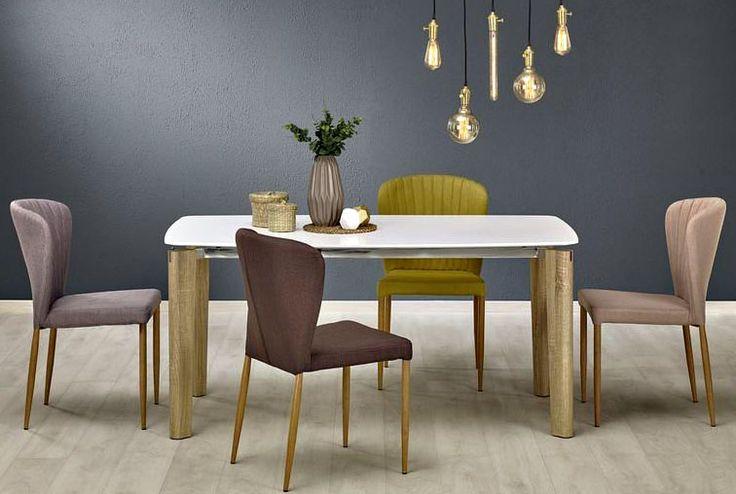 Stół Weber - czyli bardzo estetyczne połączenie płyty MDF lakierowanej i laminowanej z elementami stali chromowanej.  Stół z darmową dostawą;-)  #meblowyguru #stół #krzesła #jadalnia