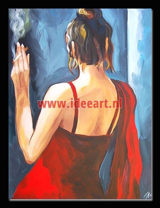 Schilderij meisje met sigaret 5314
