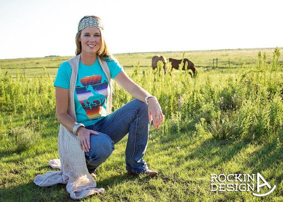 Southwest arrowhead warrior graphic t shirt / by RockinAdesign  Women's Clothing Tops & Tees T-shirts handmade graphic tee Rockin A Design t shirt turquoise cowgirl western rodeo native american serape arrowhead southwestern bronc rider rodeo outfit barrel racer bucking horse