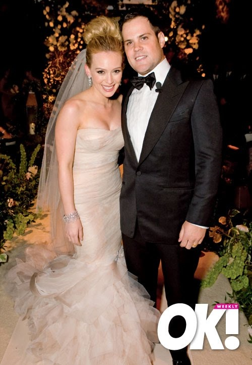 hilary duff wedding day  OFF WHITE DRESS TOO! CHAMPAGNY!