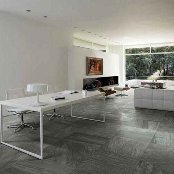 Bureau Blanc Et Carrelage Imitation Marbre Gris Living Room Tiles Home Stone Look Tile