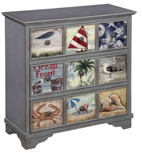 Shop this dresser or use it for inspiration! Paint or decoupage an image on drawer fronts! Featured here: http://www.completely-coastal.com/2016/01/dresseer-makeover-coastal-beach-nautical.html