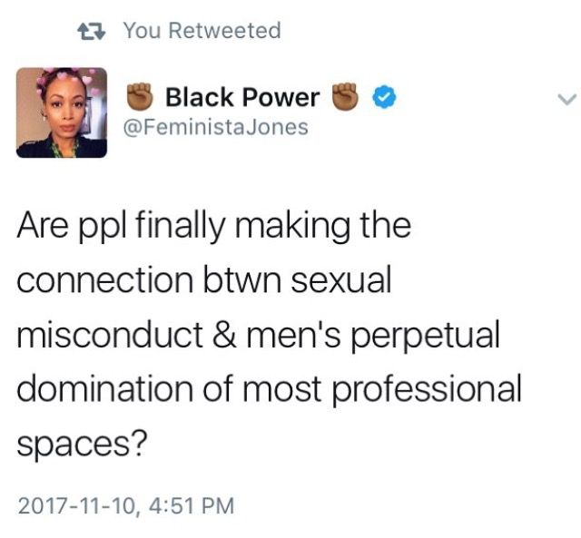 Male domination and sexual harassment and assault go hand in hand.