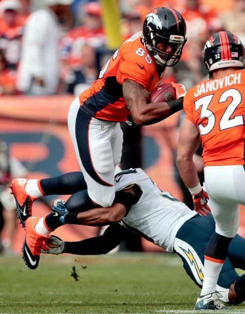 Chargers vs. Broncos:  October 30, 2016  -  27-19, Broncos  -     Denver Broncos tight end Virgil Green (85) is hit by San Diego Chargers free safety Adrian Phillips during the first half of an NFL football game, Sunday, Oct. 30, 2016, in Denver.