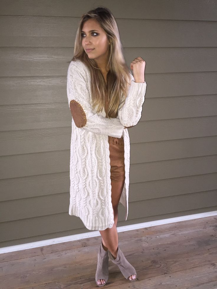 Cable Knit Cardigan sweater with elbow patch detail