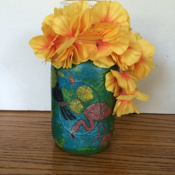 Check out this item in my Etsy shop https://www.etsy.com/listing/243158434/painted-mason-jar-candle-decoupage-tiki