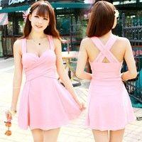 I think you'll like Women One Piece Ruched Twist Siamese Boxer Swimsuit Swimdress Swim Dress Swimwear Bathing Suit. Add it to your wishlist!  http://www.wish.com/c/54af54e74274a259dc779f2a