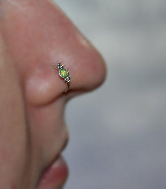 Silberring Nase / / 2mm Opal Nasenring Hoop von PjCreationsStudio