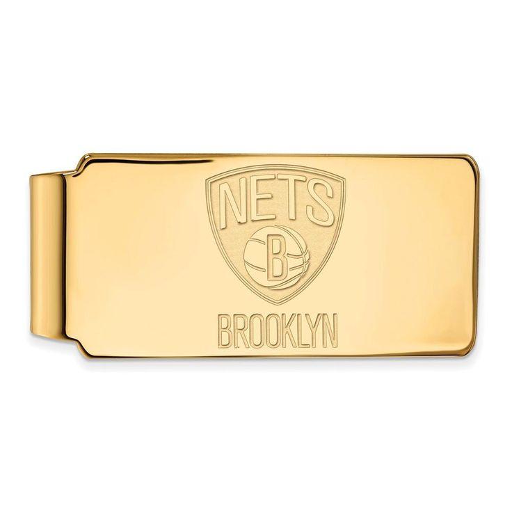 Sterling Silver w/GP NBA LogoArt Brooklyn Nets Money Clip