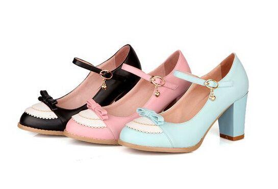 2014 nieuwe dikke hak zoete boeg met hoge hakken vrouwen trouwschoenen, retro vintage oxford schoenen, kleding schoenen oem groot formaat