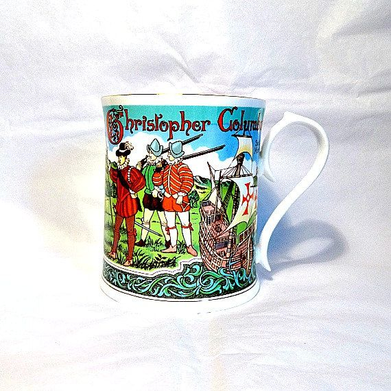 Aynsley fine bone china cup commemorating the 500th anniversary of Christopher Columbus discovering the New World.