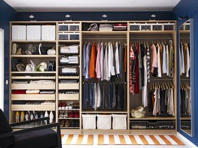 Ikea Pax/Komplement closet system organisation idea. I'm getting one of these in my hall as soon as I have the money.
