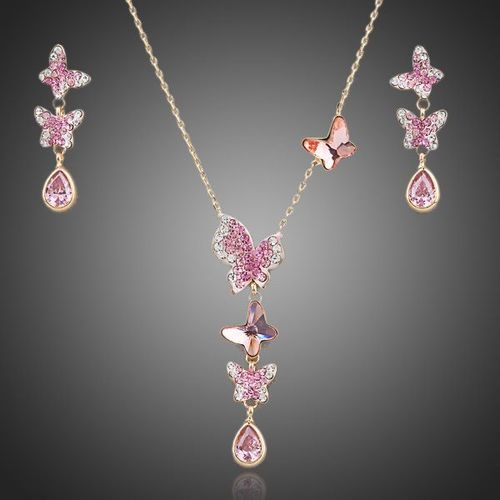 Lovely Butterfly Gold Crystal Necklace and Earrings Jewelry Set
