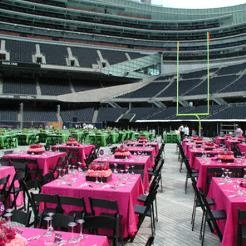 Soldier Field Event featuring Cerise Lamour, Lime Lamour, and Red Lamour Linens. Football and elegance go well together.
