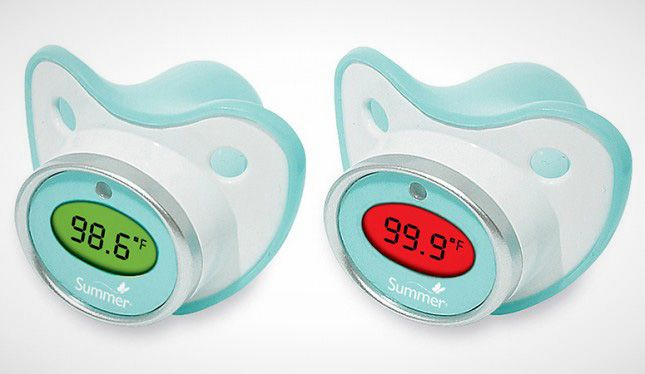 Pacifier Thermometer : Can we just pretend the rectal thermometer was never invented? We love two-in-one gadgets.