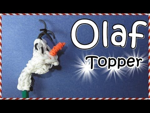 Rainbow Loom FROZEN OLAF Pencil Topper. Designed and loomed by DIYMommy. Click photo for YouTube tutorial. 04/11/14