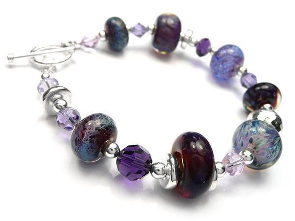 Lampwork Glass Bracelet - Purple Rain
