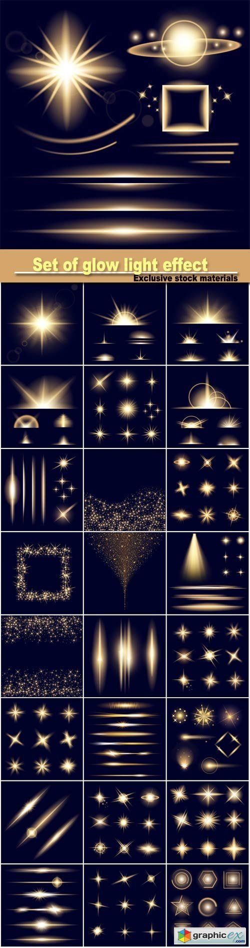 set of glow light effect stars bursts with sparkles isolated on black background
