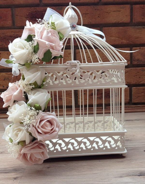 Vintage Shabby Chic Dusky Pink Ivory Roses Bird Cage