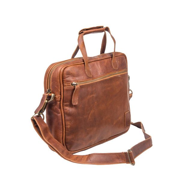 """Compact Leather Laptop Case - 13"""" Capacity - Lightweight - Leather Work Bag Or Satchel by MAHI Leather"""