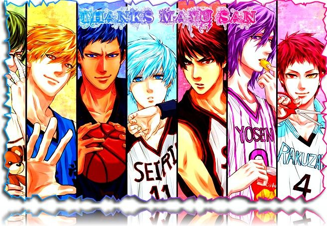 Kuroko no Basket Cast (with first names based on colors