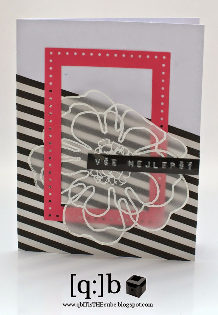 wish card with Stitched Rectangles from Papertrey Ink and hot embossing flower on velum paper [q:]b ■ ...it´s THE cube