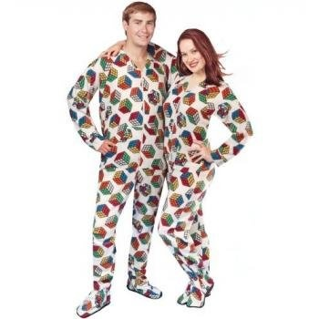 """PajamaCity offer the best PajamaCity Rubik's Cube Print Officially Licensed Footed Pajamas with Drop Seat for Teens and Adults Size 3 (5'0"""" to 5'3"""").  #pajamas #footed"""