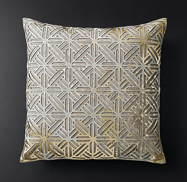 Rh Modern Pillows : RH Modern s Metallic Cowhide Filigree Pillow Cover - Square:Inspired by architectural detailing ...