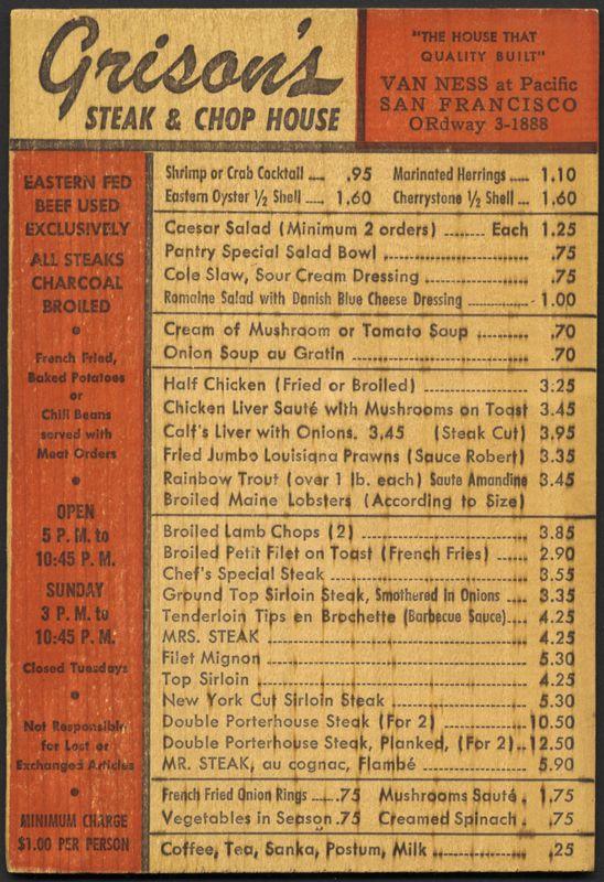 Grison's Steak & Chop House, 1926
