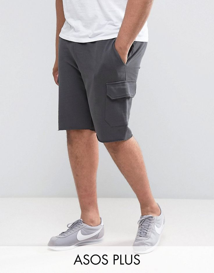 ASOS PLUS Skinny Jersey Shorts With Cargo Pockets In Green - Black
