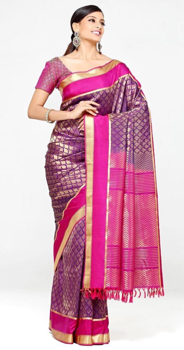 $248.20 Pink And Purple Banarasi Silk Saree 13610