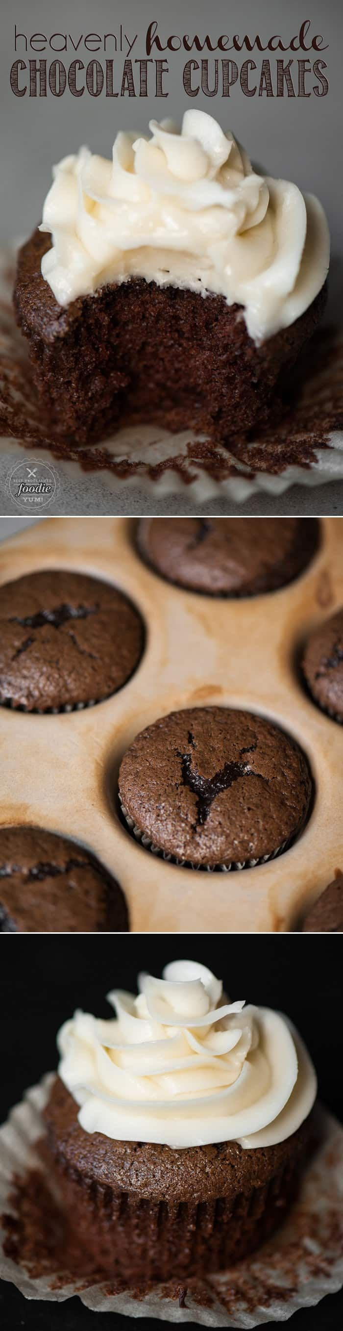 Heavenly Homemade Chocolate Cupcakes, made with cocoa and strong hot coffee, are the most decadent and moist chocolate cupcake recipe you'll ever enjoy!