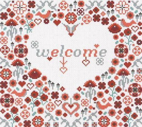 Welcome Poppy Heart - Riverdrift House cross stitch kit
