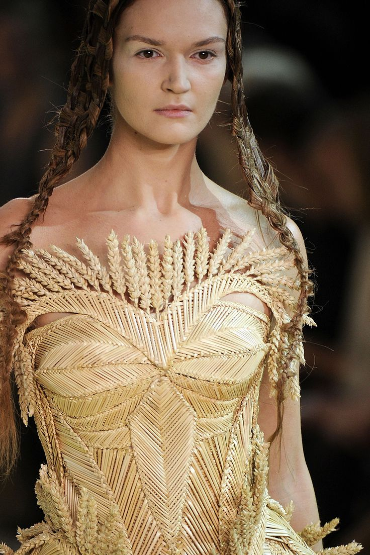 This is the most interesting wheat weaving that I've ever seen. by Alexander McQueen