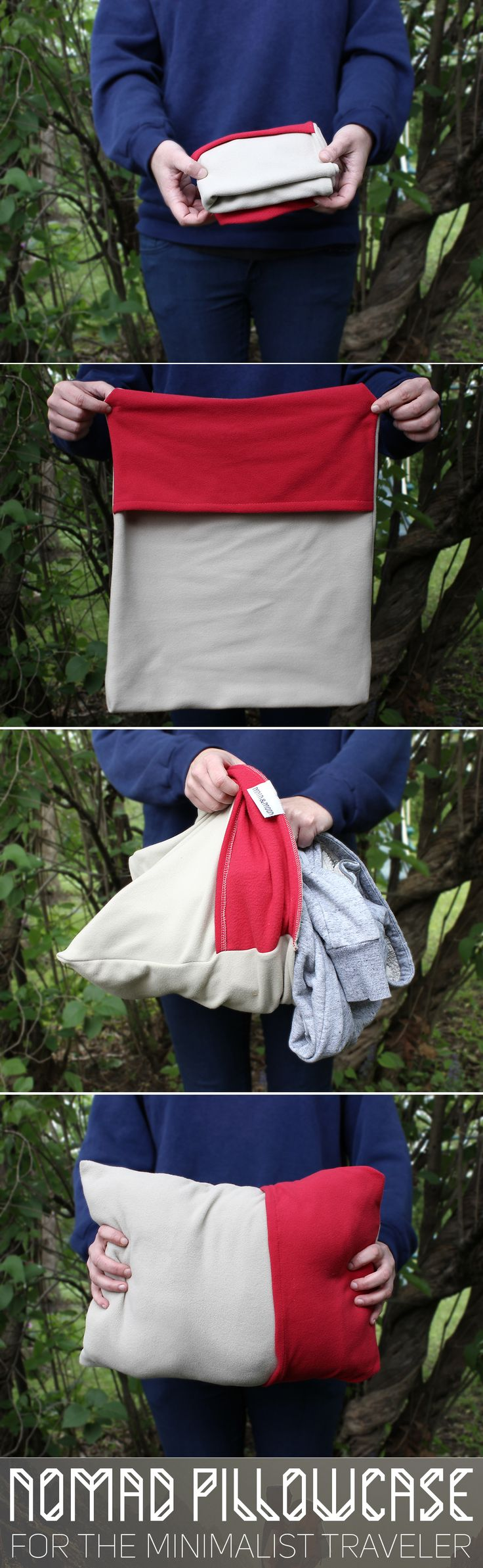 "The Nomad Pillow Case by Mntn & Moon folds up smaller than a t-shirt.  Stuff with clothing or jacket for an instant pillow.  Perfect for camping, airplanes or anywhere were space is limited. Made in USA  Measures: 17"" x 13"""