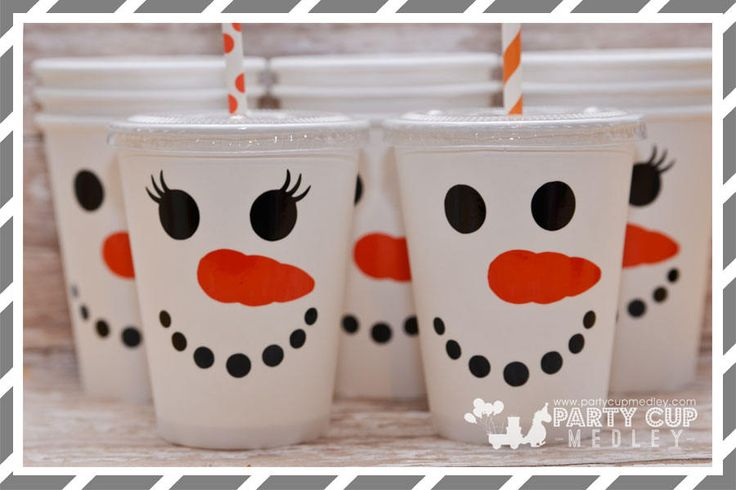 Snowman Birthday Party Cups, Lids & Straws-Set of 8, 10 or 12 by PartyCupMedley on Etsy