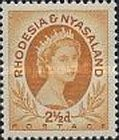 Rhodesia and Nyasaland, 1.7.1954, Queen Elizabeth II. No.4 2 1/2P ochre. Stamped 2,70 USD, Mint Condition 135 USD.
