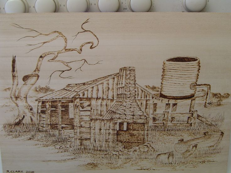 Pyrographic sketch on wood of old bush homestead in the