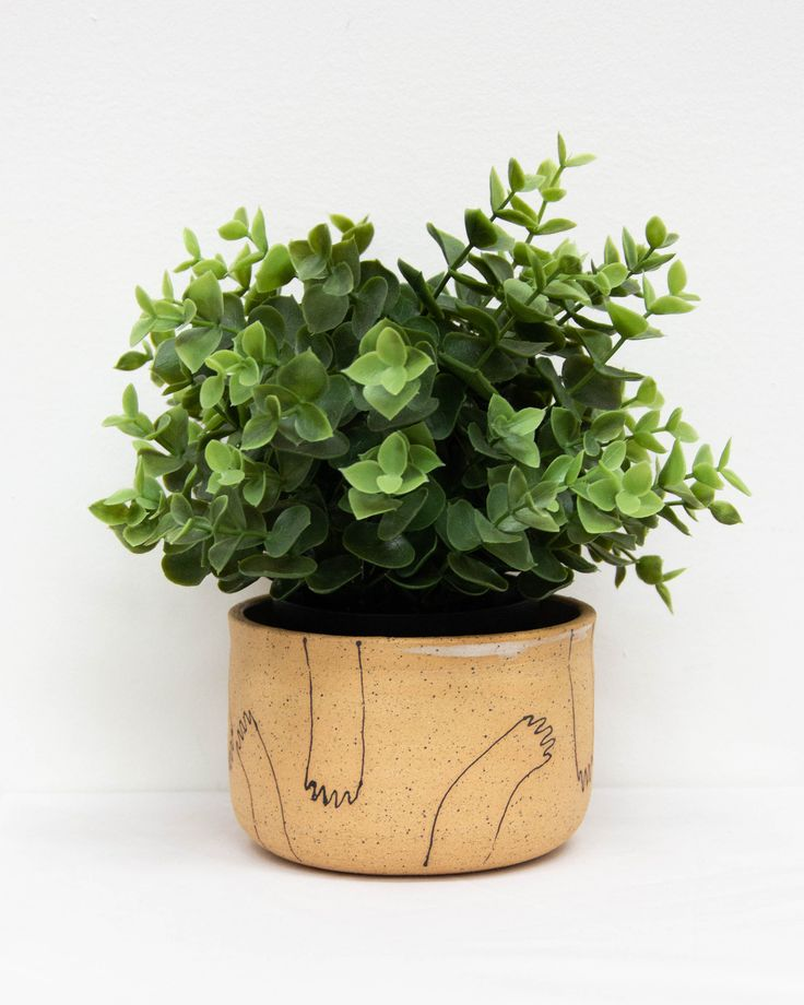 This handmade ceramic planter was made in Sacramento with love. Details: drainage hole, 4.5in wide and 3in tall
