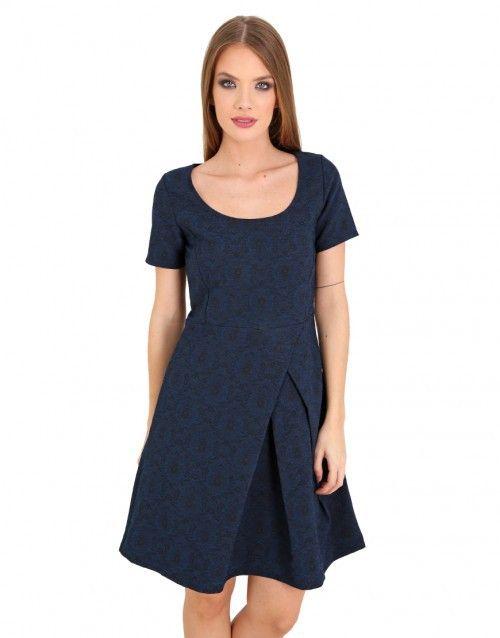 Μπλε και μαύρο μίνι φόρεμα με πέταλο λαιμό - Μαύρο & Μπλε