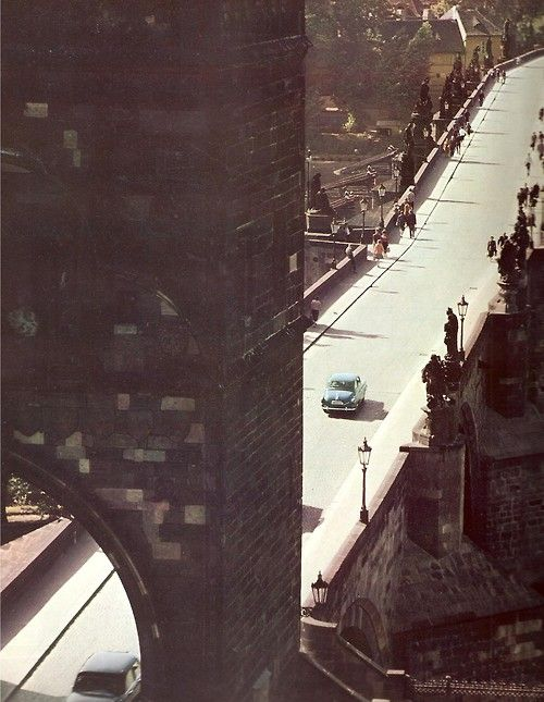 Prague with cars: Charles Bridge by M.Korecký, mid 70s