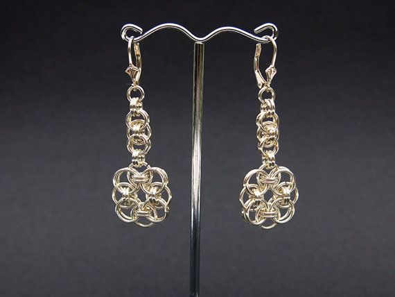 Helm Chainmaille Flower Drop Earrings