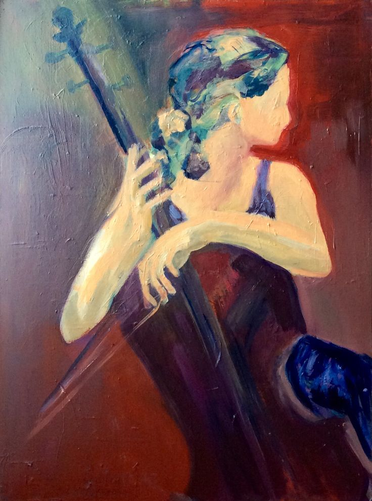 girl with cello oilpainting