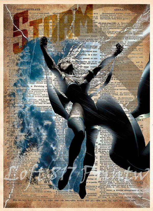 Storm Xmen art, SuperHero, Book page art, Storm art print. Unique Pop art, dictionary page art. These unique and original artwork are printed on authentic vintage early 1900's dictionary paper from bo