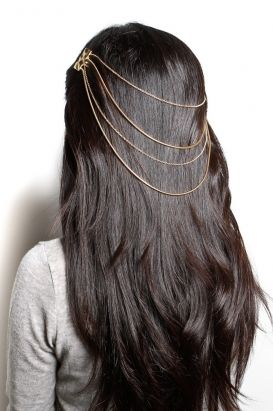 belle noel - snake cable chain hair piece (gold) - Belle Noel | 80\'s PurpleHair Piece, Hair Colors, Long Hair, Beautiful, Hair Jewelry, Bridal Hairstyles, Belle Noel, Hair Accessories, Hair Chains
