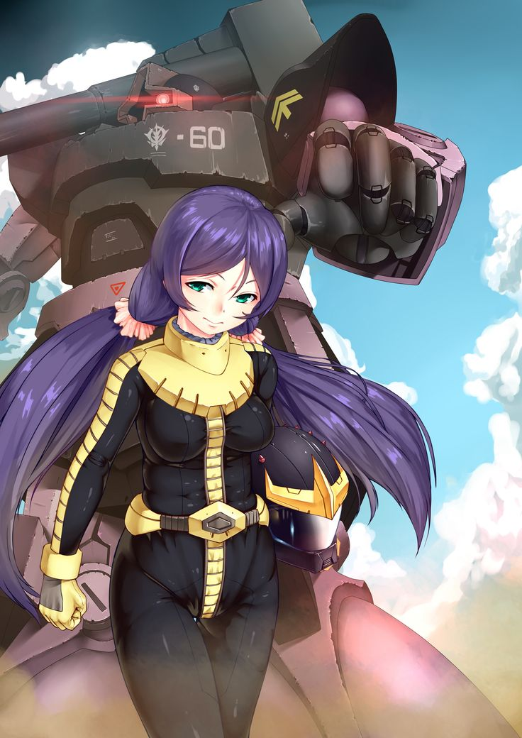 absurdres black_tri-stars breasts clouds company_connection cru dom green_eyes gundam headwear_removed helmet helmet_removed highres long_hair love_live!_school_idol_project mobile_suit_gundam purple_hair sunrise_(company) toujou_nozomi twintails