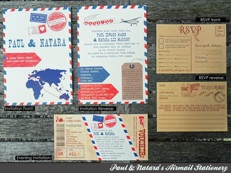 wedding air mail | Airmail Wedding Invitation, Evening Invitation & RSVP Stationery set
