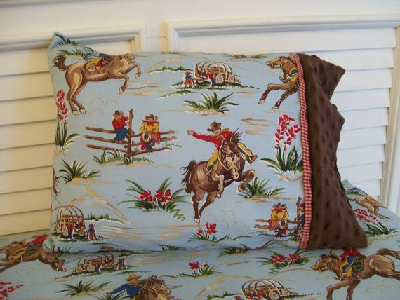 Horses and Cowboys Toddler Pillowcase Minky Barn by CottageDome