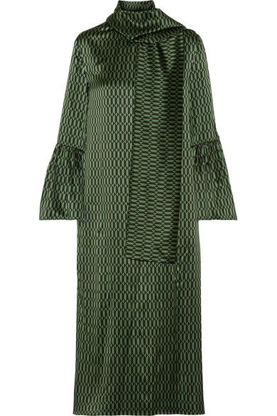 Fendi - Chiffon-trimmed Printed Silk-satin Midi Dress - Green