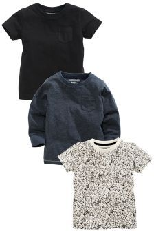 Three Pack Mix Sleeve Top (3mths-6yrs)